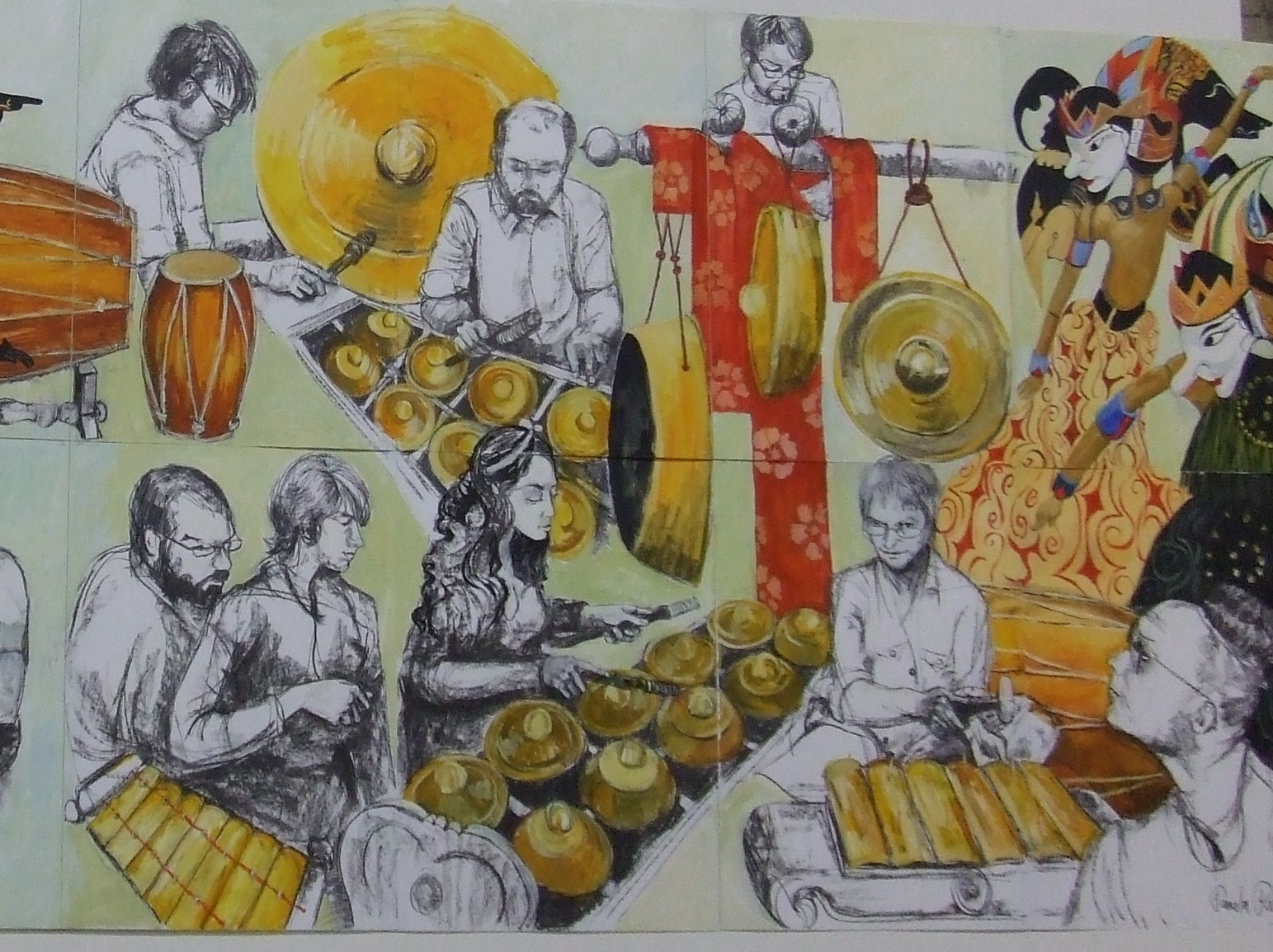Paintings of gamelan instruments and players