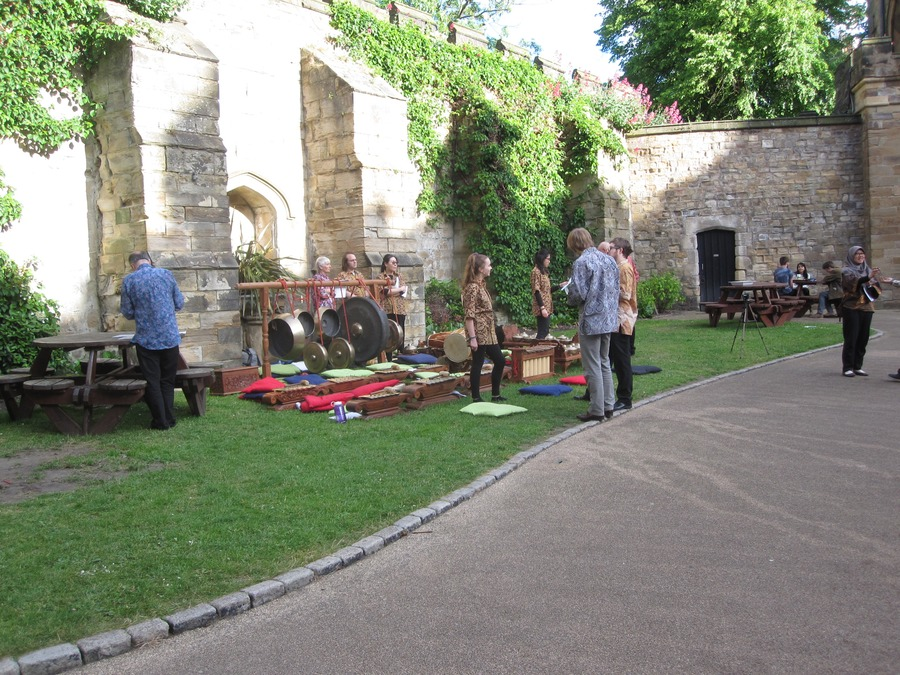 Preparing for a performance in the Castle courtyard